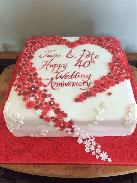 Hearts and flowers 40th wedding anniversary cake. Ruby