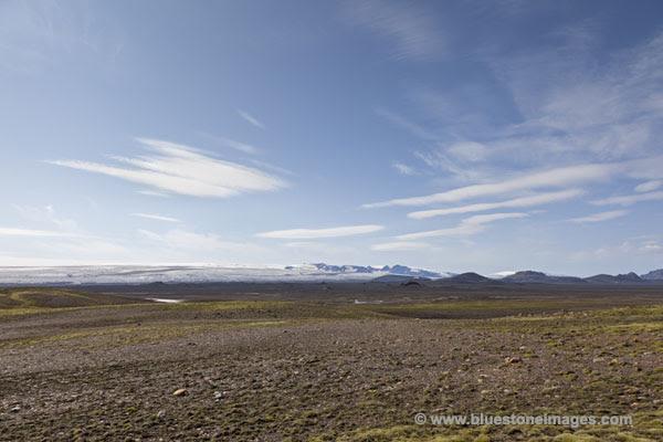 06D-0808 Myrdalssandur Desert with the Myrdasjokull Glacier Under Which Sits the Mighty Katla Volcano Iceland
