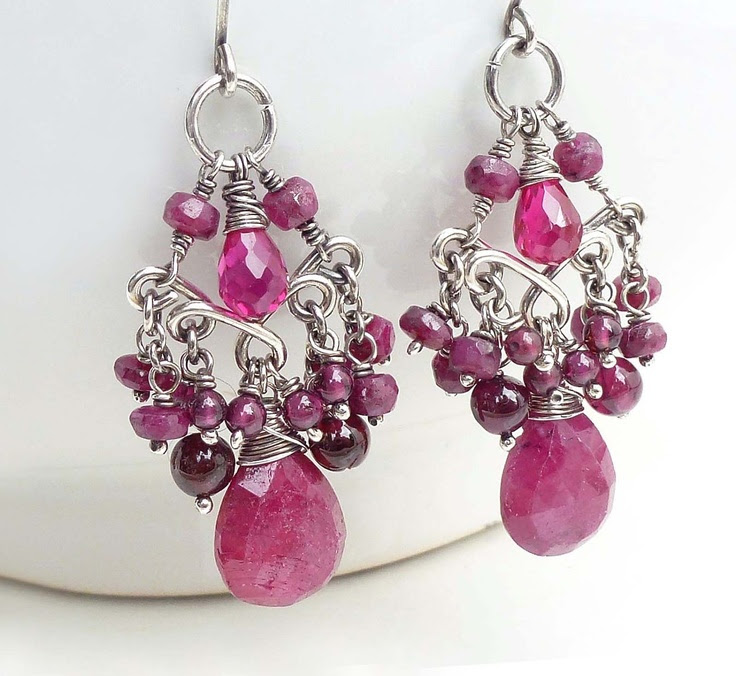 Red ruby earrings Wire wrap jewelry Handmade Dark pink ruby chandelier earrings Sterling silver July birthstone earrings Ruby jewelry