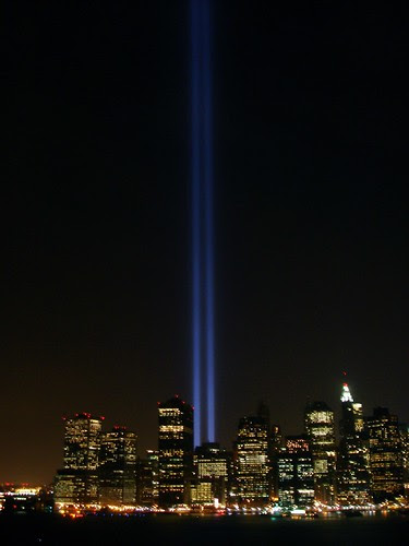 Memorial lights at the WTC site, 9/11/2007