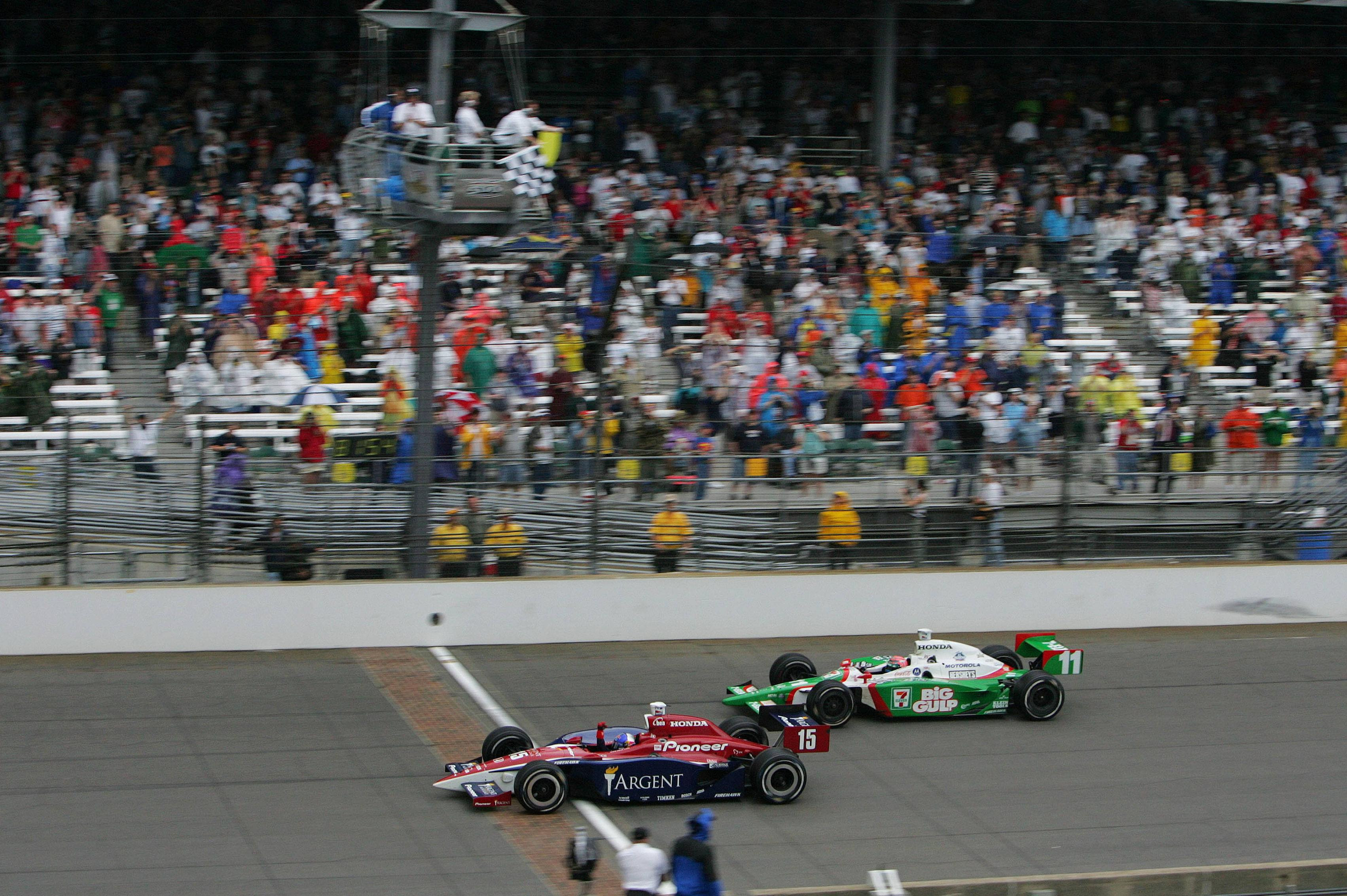 Buddy Rice Coming Across The Line To Win The 2004 Indy 500 [3405x2266]