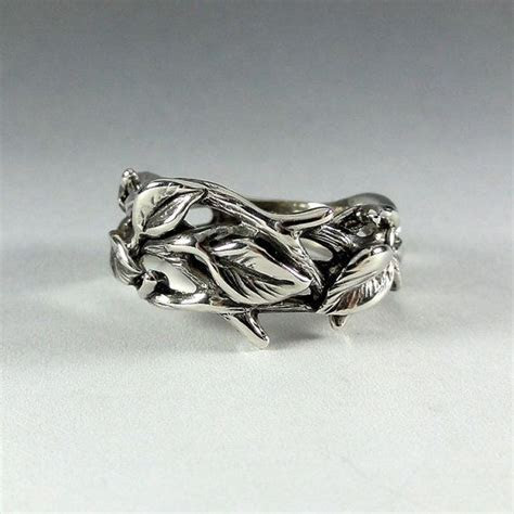 Sterling Silver Leaf and Twig Band Ring, Tree Branch Ring