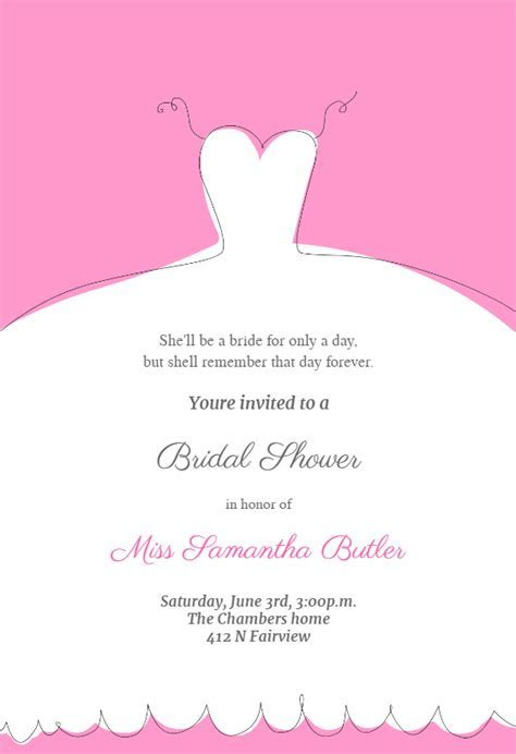 Wedding Dress Invitation   Bridal Shower Invitation