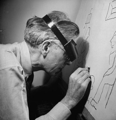 "how to be james thurber  In The Years with Ross, James Thurber describes his beginnings as an artist at [The New Yorker]; Thurber says that, having had success at his now-famous quickly sketched freehand drawings, he sat down and did some proper ones, with full attention to detail, shading, perspective, and so on. When he showed them to his colleague E.B. White, White took one look and said, ""Don't do that. If you ever got good you'd be mediocre.""  ian frazier from steinberg at the new yorker (2005)"