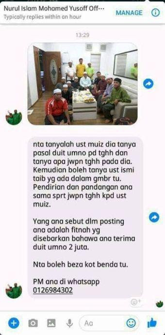 Controversial claim by Nurul Islam uploaded onto chat group