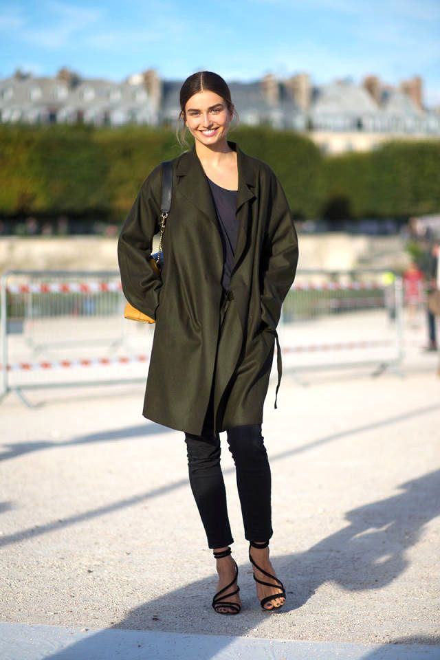 Le Fashion Blog -- Model-Off-Duty Andreea Diaconu -- Green Coat Skinny Cropped Jeans Strappy Wedge Sandals -- Paris Street Style -- photo Le-Fashion-Blog-Model-Off-Duty-Andreea-Diaconu-Green-Coat-Navy-Tee-Skinny-Ankle-Jeans-Strappy-Sandals-Paris-Street-Style.jpg