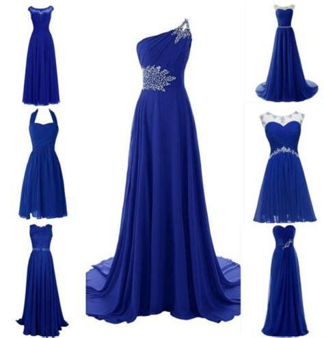 royal blue lace chiffon bridesmaid wedding evening