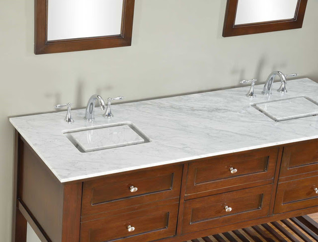 70-inch Dark Brown Mission Spa Double Vanity Sink Cabinet