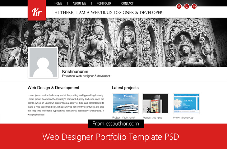 20 beautiful web design template psd for free download web web designer portfolio template psd for free download cssauthor 20 beautiful web design template pronofoot35fo Choice Image