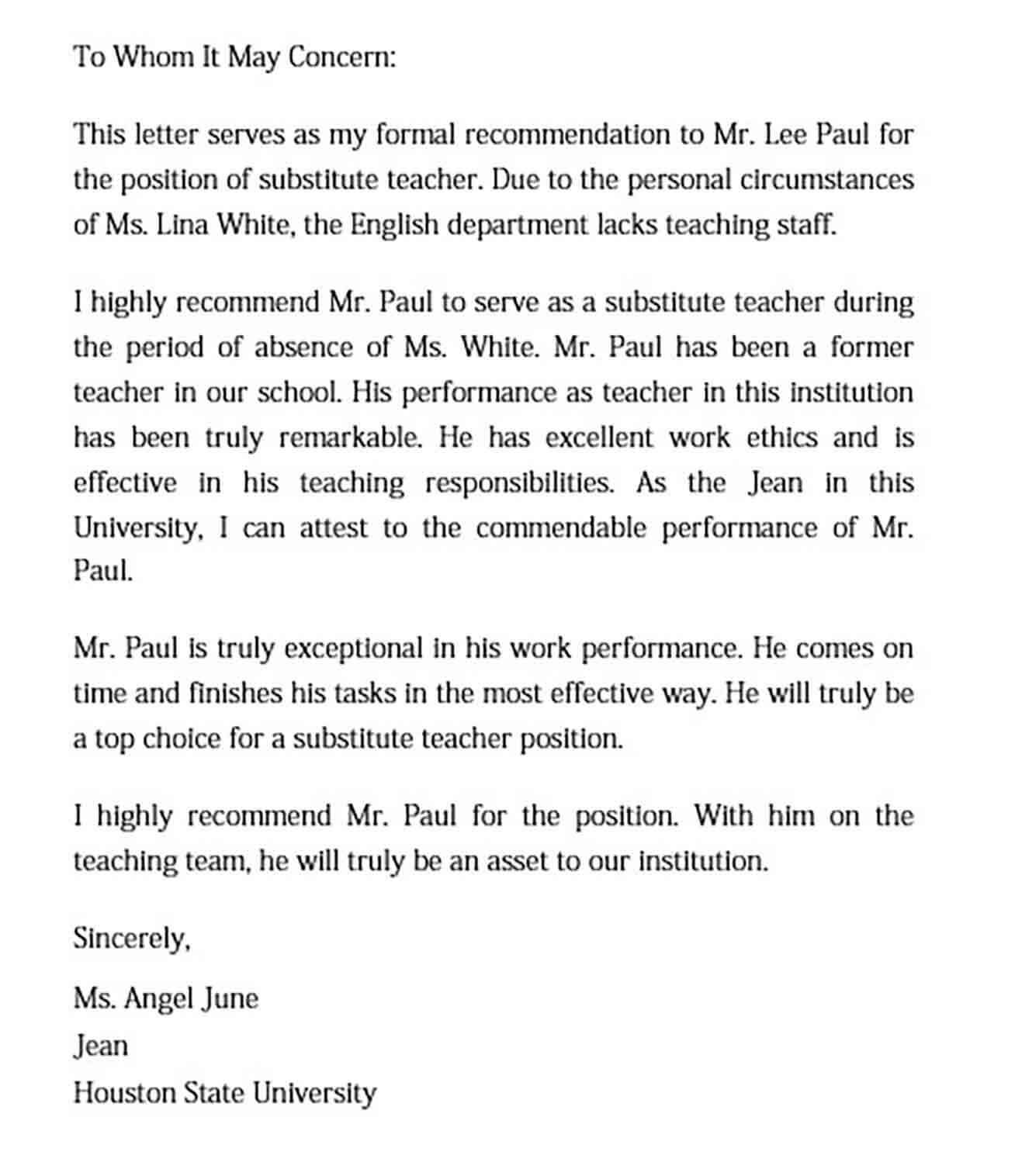15+ Letter of Recommendation for a Teacher Free PDF, Doc ...