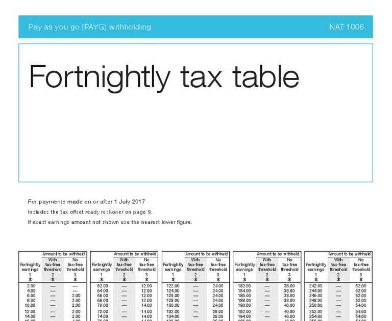 Fortnightly Tax Table 2017 2018 | Decoration Items Image