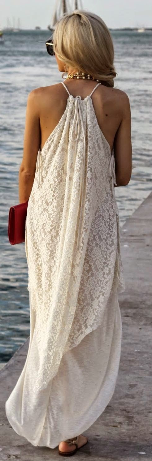 Lace Maxi. This is really pretty it could easily be casual enough for church and also dressy enough for a wedding:) (guest not bride) And although I did just say that it wasnt bride appropriate I have to rethink that remark and i think it would be awesome for a beach wedding!