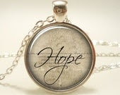 Hope Necklace, Word Pendant, Inspirational Jewelry (1376S1IN) - rainnua