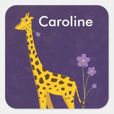 Cute Giraffe Holding Purple Flowers Customizable Square Sticker