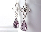 Lilac Earrings, Vintage Glass Jewel, Sterling Silver Flowers