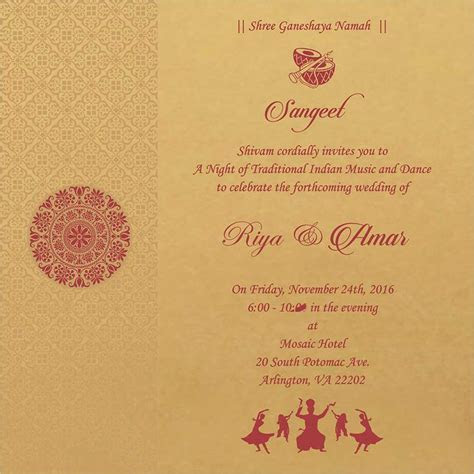 Wedding Invitation Wording For Sangeet Ceremony   Sangeet