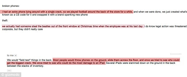 This email exchange between Gizmodo and an anonymous employee details their sport of 'football' with a cracked iPhone until exchanging it for a brand new one