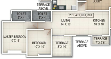2 BHK Flat - 588 Carpet + Terace - A  Building - Windsor County Ambegaon Budurk Pune 411046