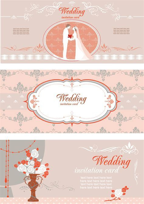 Wedding invitation card with different elements vector