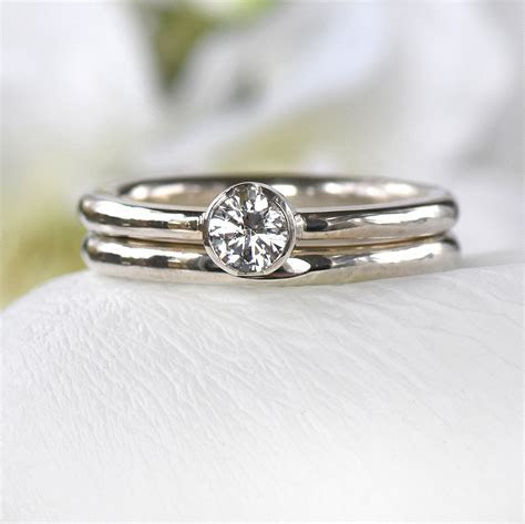 White Sapphire Engagement Ring Set   Engagement Ring Sets