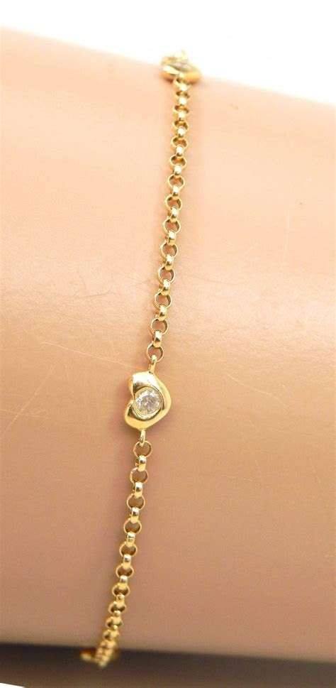 ladies  yellow gold diamonds heart anklet bright jewelers