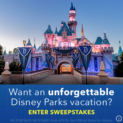 Enter the Disney Parks Vacation Sweeps. Ends 4/12