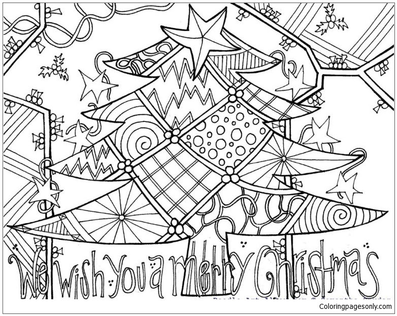 A Decorated Christmas Tree Coloring Page - Free Coloring ...