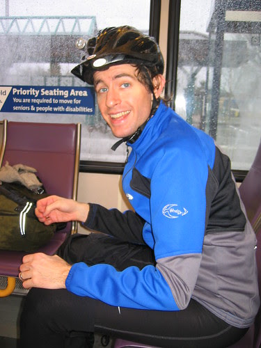 Ian, riding the MAX over the hill