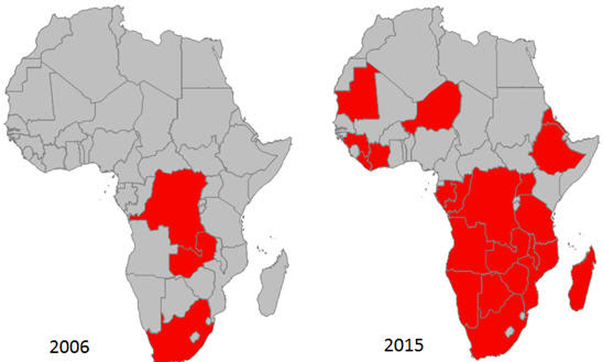 China is charging Africa's mining landscape - 2006 - 2015 maps