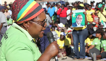 Republic of Zimbabwe Vice-President Joice Mujuru campaigning for ZANU-PF in Mafakose, Harare on July 27, 2013. The elections are slated for July 31. by Pan-African News Wire File Photos