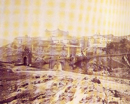 Vista Panoramica del Alcázar y el Puente de Alcántara hacia 1885