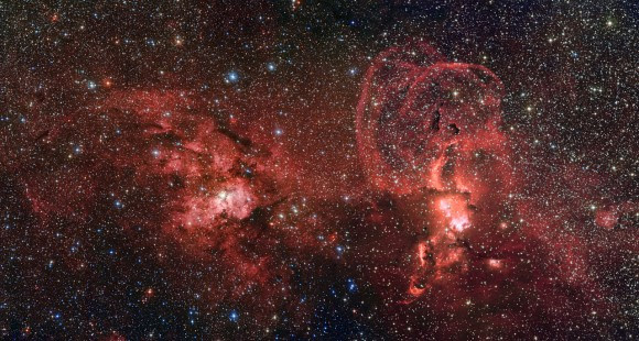 This mosaic of images from the Wide Field Imager on the MPG/ESO 2.2-metre telescope at ESO's La Silla Observatory in Chile shows two dramatic star formation regions in the southern Milky Way. The first of these, on the left, is dominated by the star cluster NGC 3603, located about 20 000 light-years away, in the Carina–Sagittarius spiral arm of the Milky Way galaxy. The second object, on the right, is a collection of glowing gas clouds known as NGC 3576 that lies only about half as far from Earth. Credit: ESO / G. Beccari
