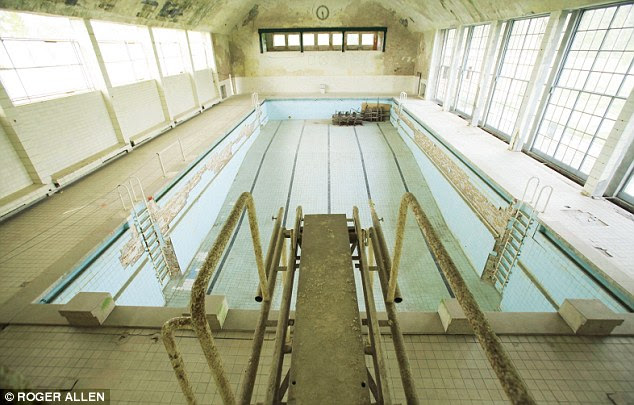 The swimming pool, viewed from the diving board