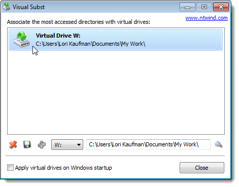 Virtual drive W: added in Visual Subst