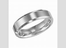 6mm wide polished tungsten carbide mens wedding band with beveled edge   Mullen Jewelers