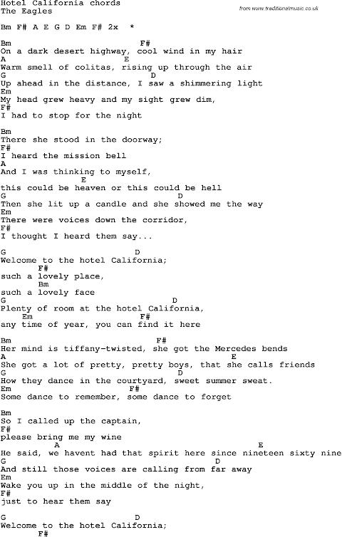 Hotel California Lyrics And Chords Easy