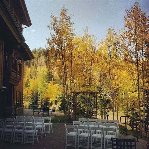 Outside wedding with Fall Colors at the Mountain Thunder