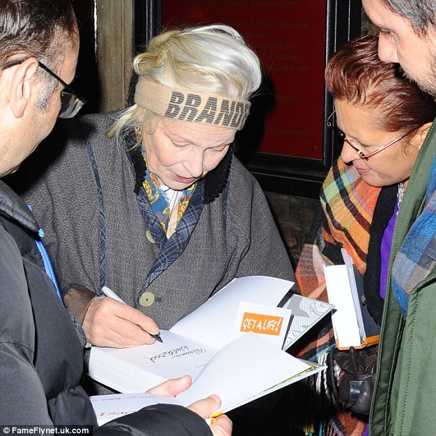 Dutiful: Dame Vivienne signed books for fans after giving her talk