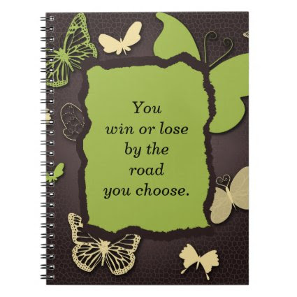 Brown and Green Butterfly Inspirational Notebook