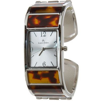 LOUIS ARDEN Tortoise Bangle Bracelet Watch (Sil/Tort)