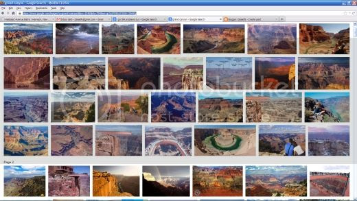 screenshot of a Google image search for 'Grand Canyon'