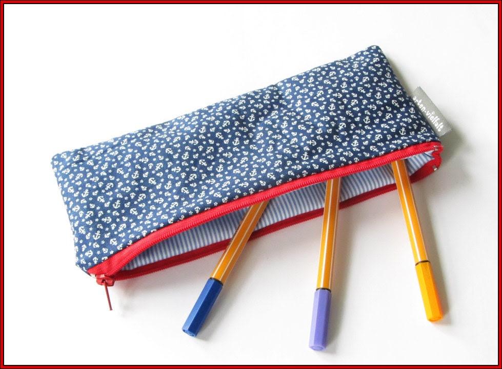 Pencil case, anchor blue white red, cotton, writing-case, maritime - artenvielfalt