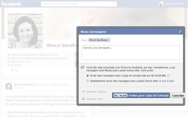 Facebook começa a cobrar para usuário do Brasil enviar mensagens