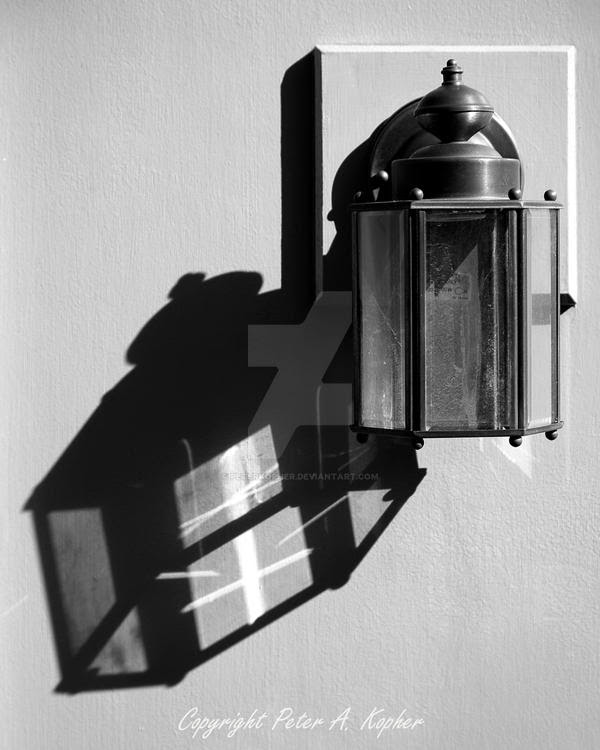 Wall Lantern and Shadow B+W by peterkopher