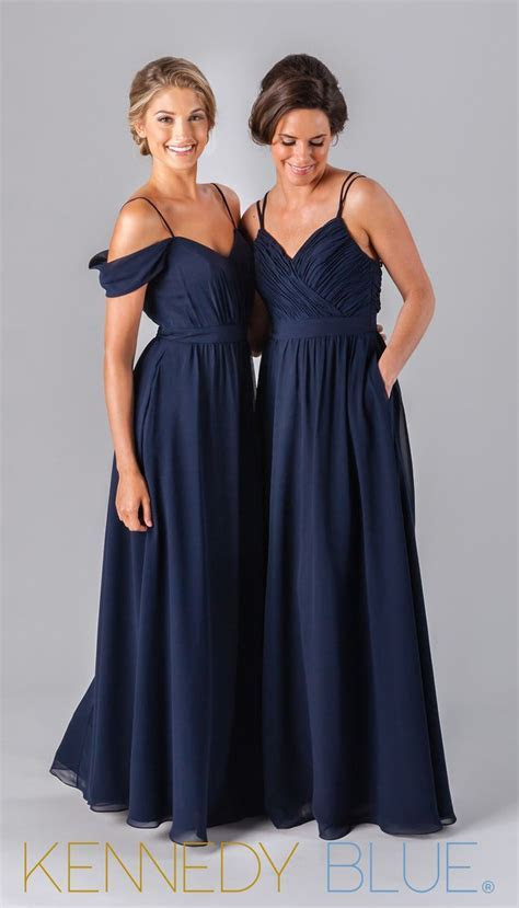 Mix and match chiffon bridesmaid dresses in navy from the