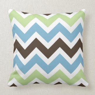 Blue, Spring Green, and Brown Chevron Pattern