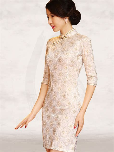 white floral lace  sleeve mandarin collar chinese