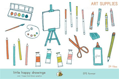 art supplies vector illustrations creative market