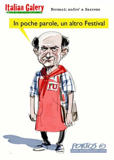 Bersani va al festival di Sanremo - Vignetta