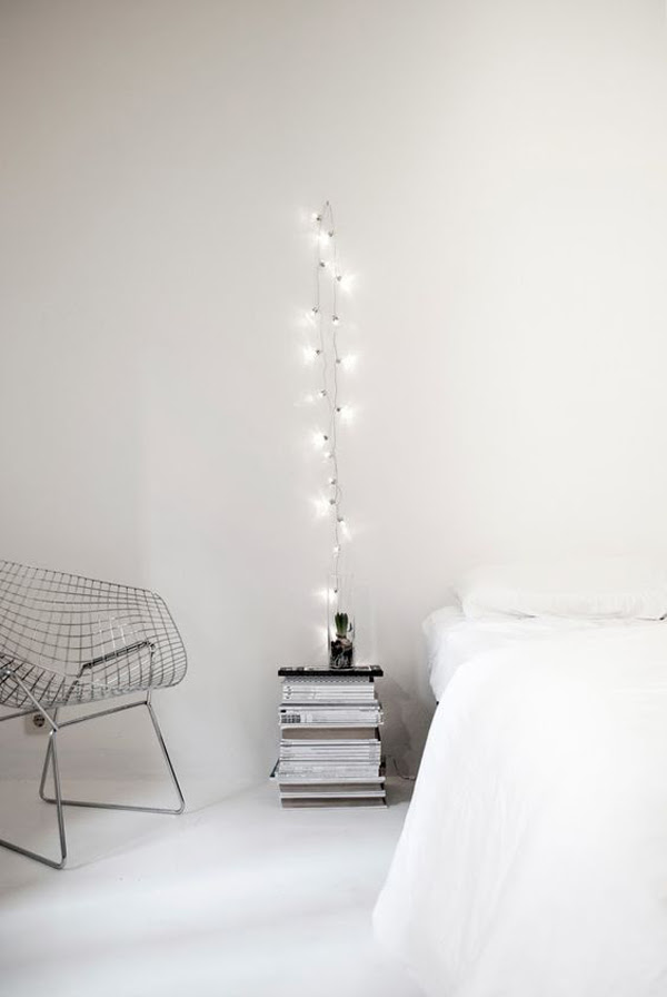 diy simple white bedroom  string  lights